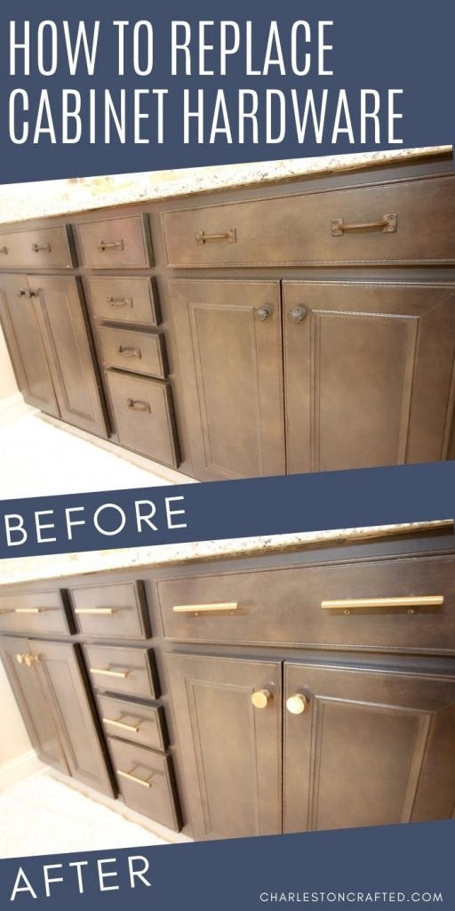 how to replace cabinet hardware before and after