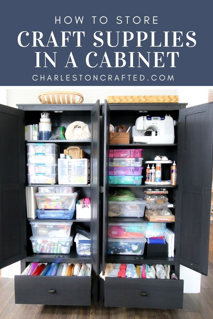 how to store craft supplies in a cabinet