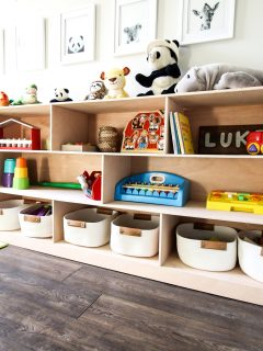 Styled Montessori toy shelf