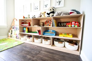 DIY Montessori toy shelf- with PDF plans