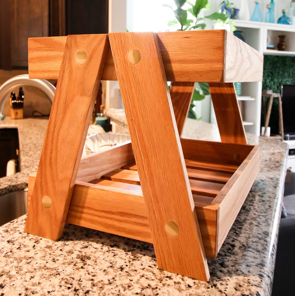 Two tiered wooden tray