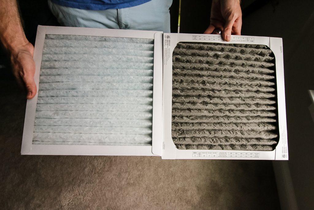 Clean air filter versus dirty air filter