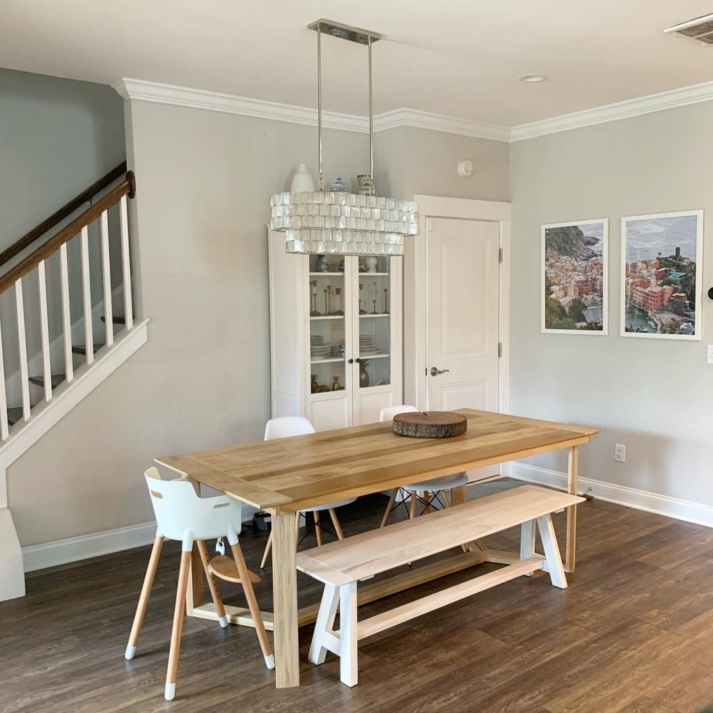 dining room with capiz west elm light fixture