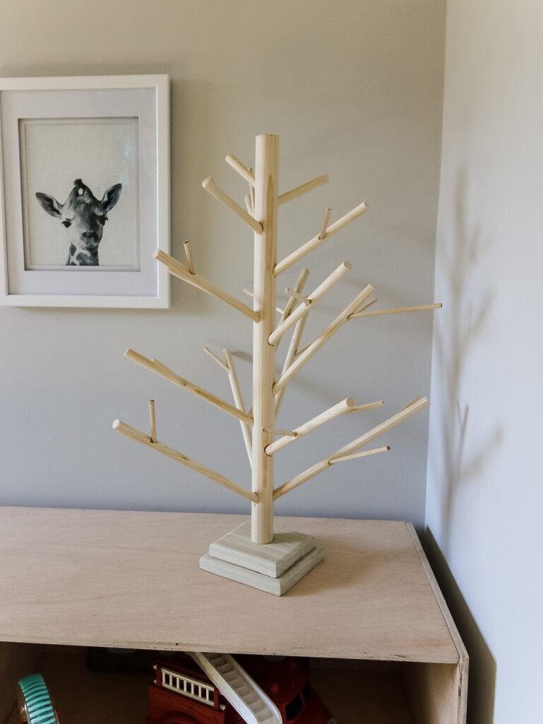 DIY tabletop dowel christmas tree