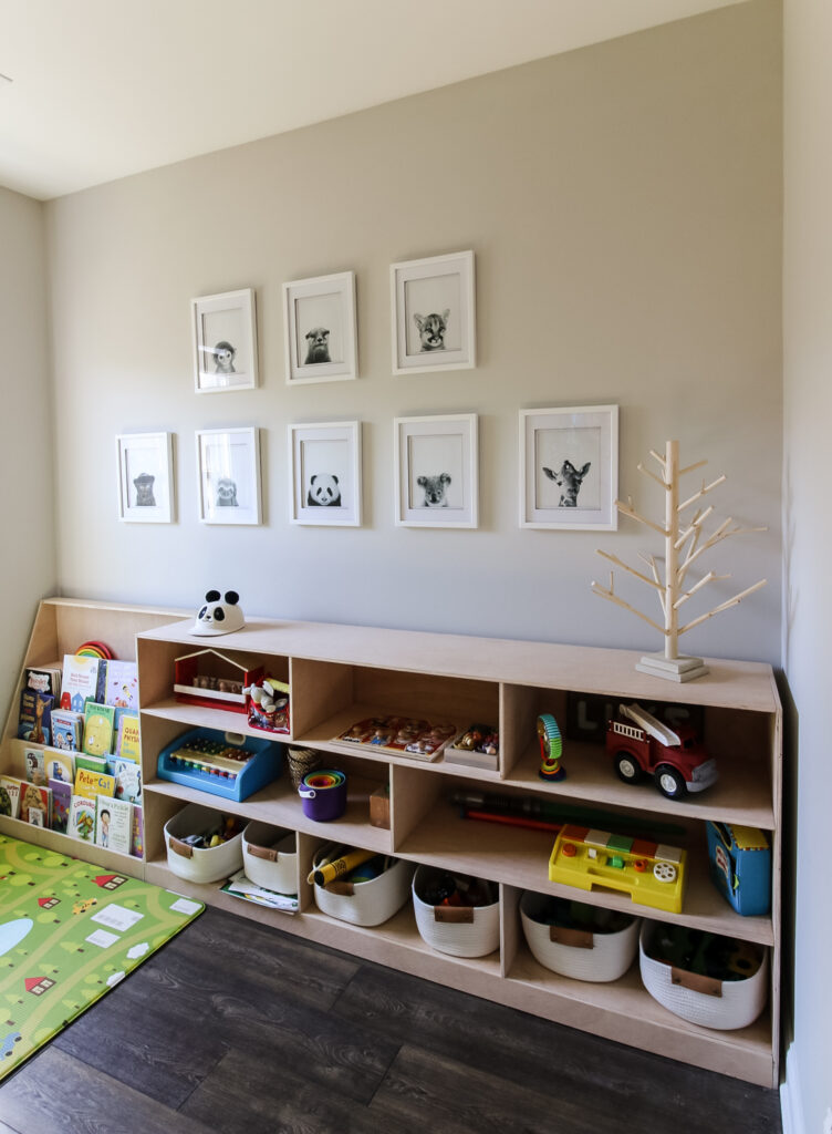 Dowel Christmas tree in a playroom