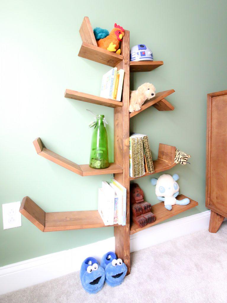 DIY tree shaped bookshelf - Charleston Crafted