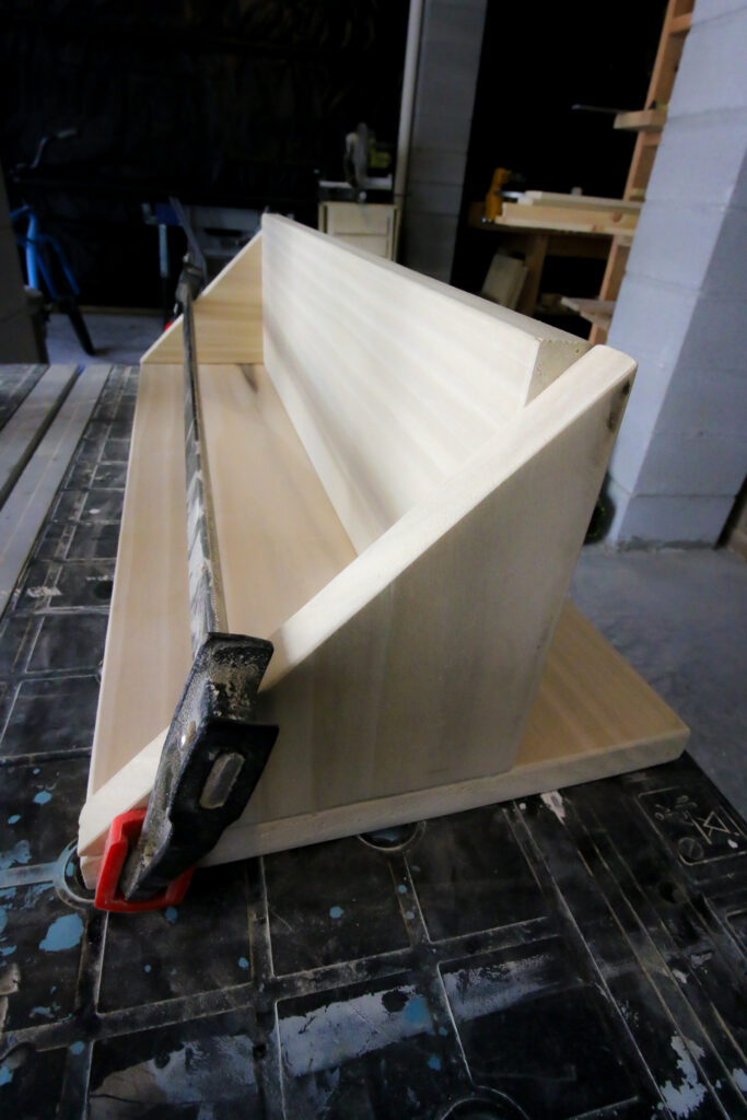 DIY entry shelf clamped