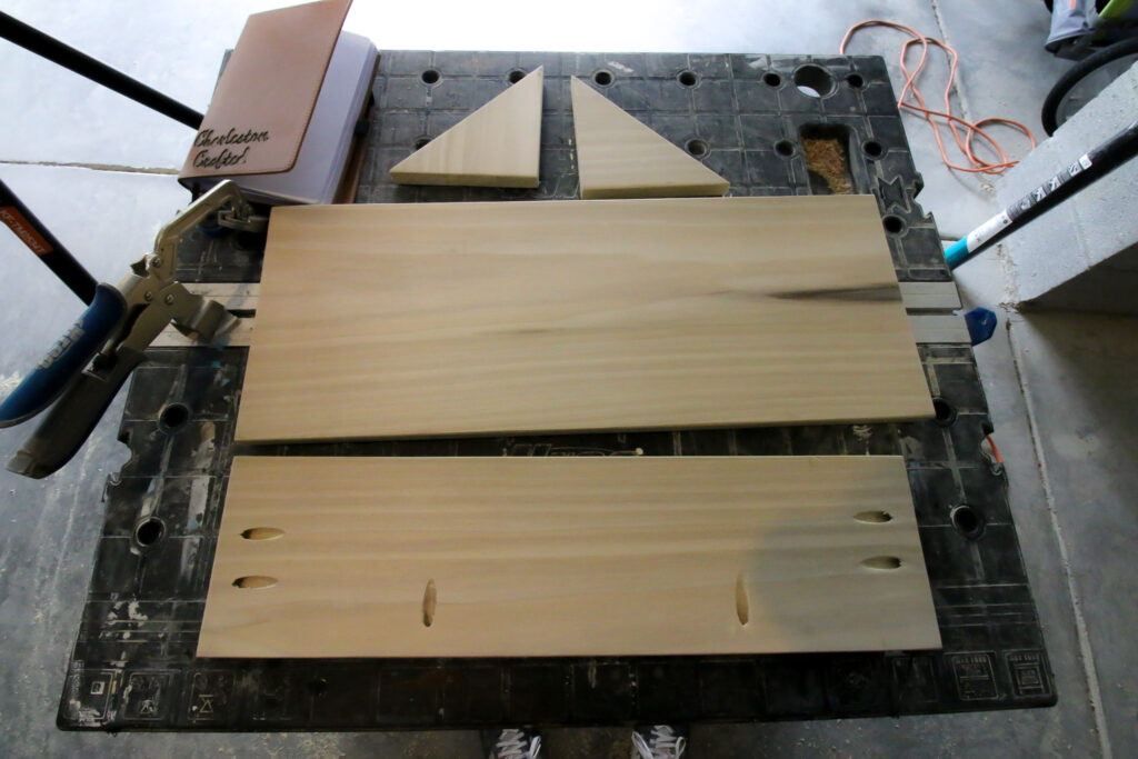 DIY entry shelf cut boards