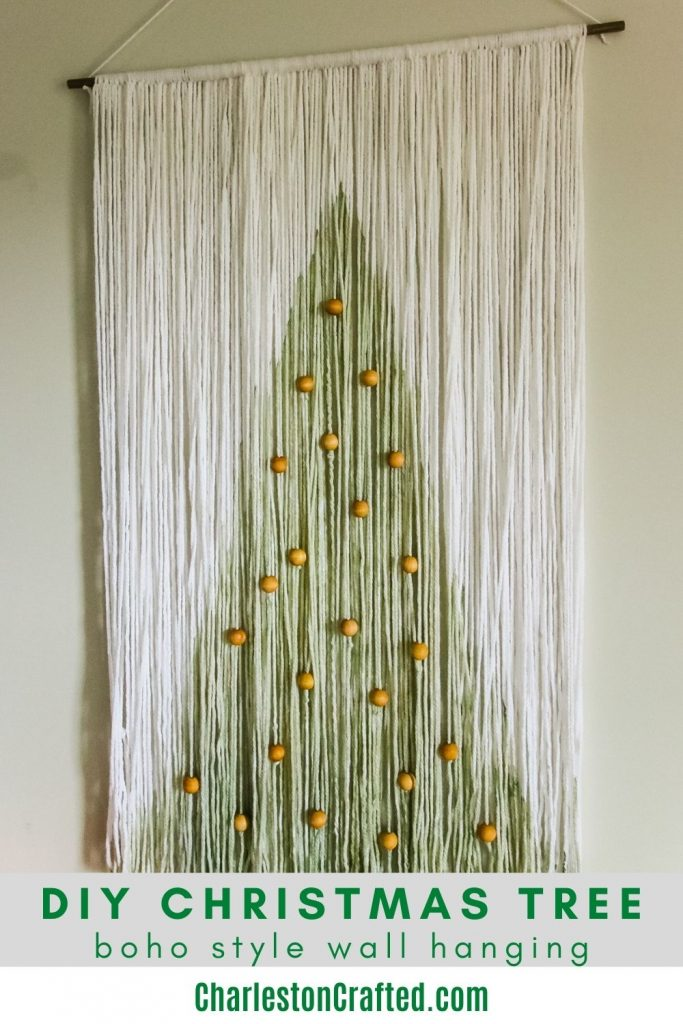 DIY Christmas tree boho style wall hanging