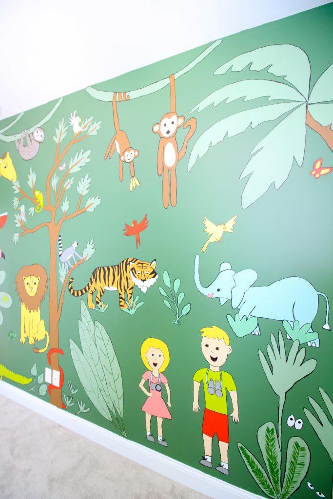 Jungle animal mural