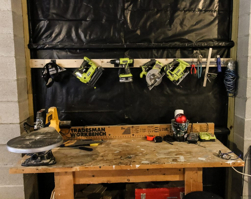 Tool holder hanging over the workbench