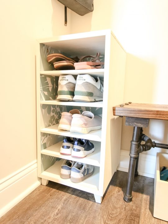 DIY shoe shelf in place