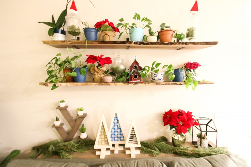 Christmas decor on live edge wood shelves