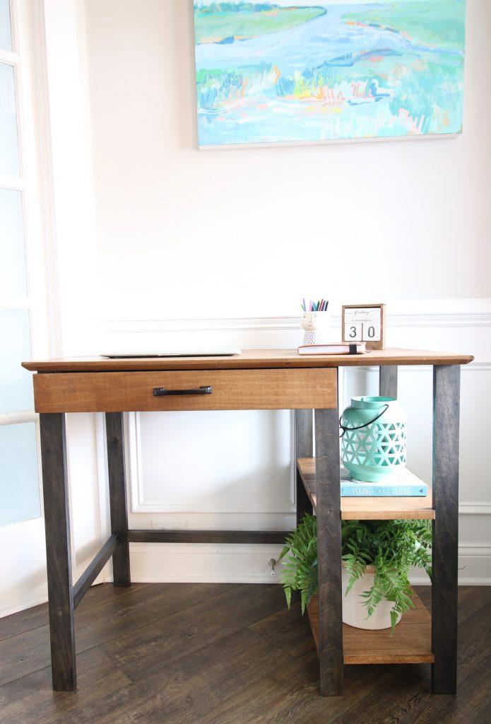 Full vertical shot of writing desk