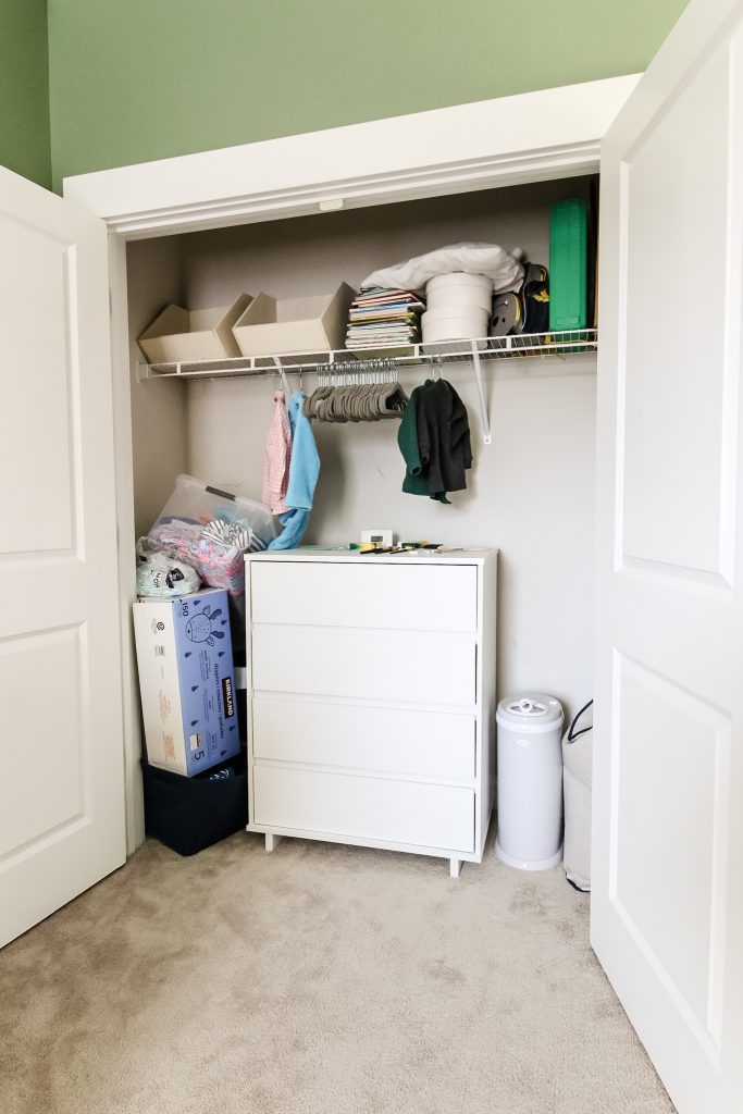 Before of closet with wire shelf