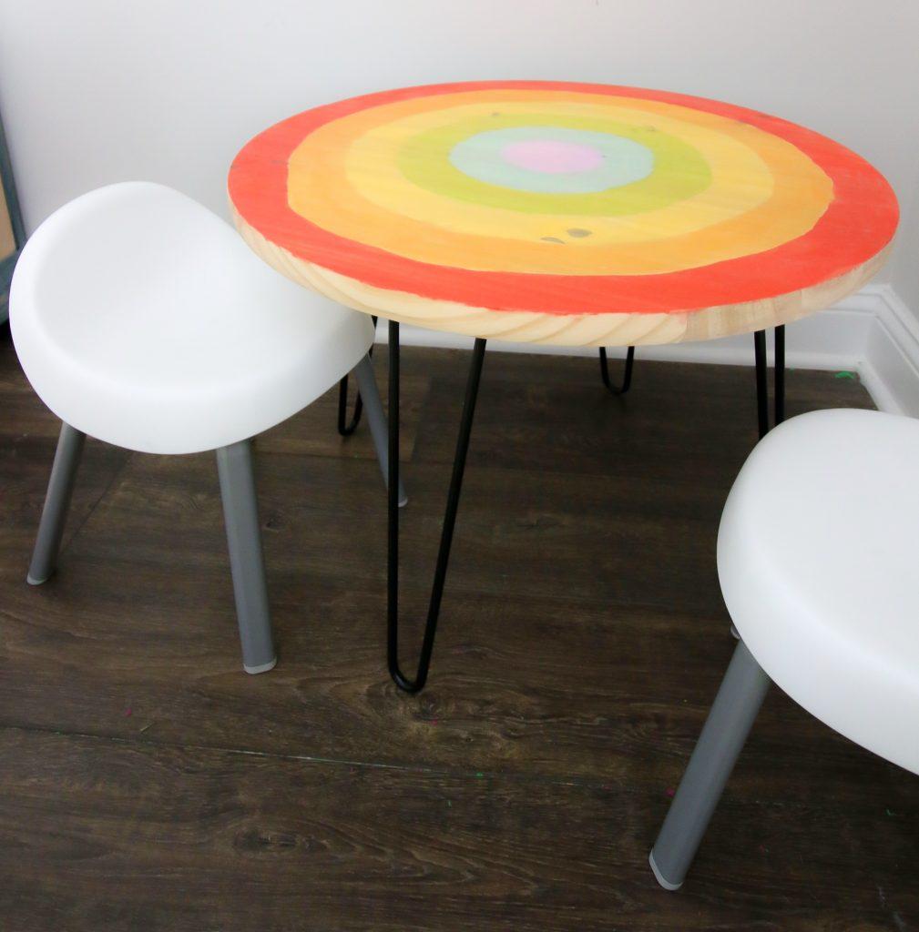 DIY wood and metal round kids craft table