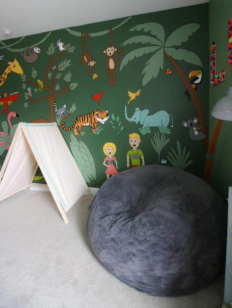bean bag and jungle mural