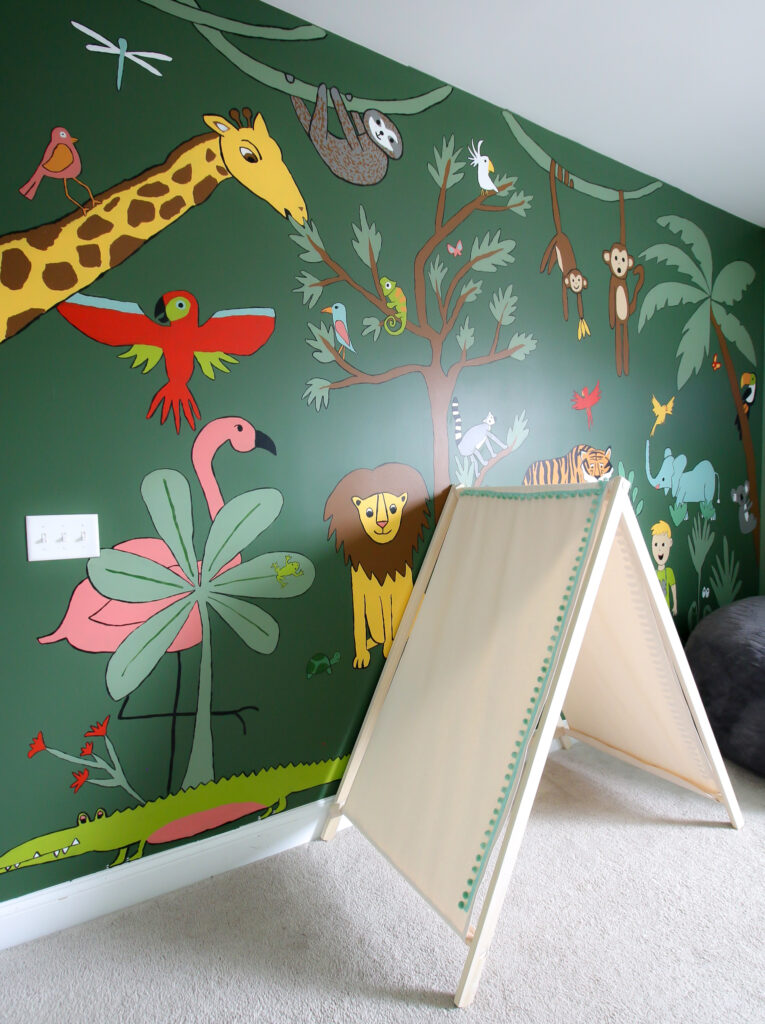 play tent in a jungle themed kids bedroom