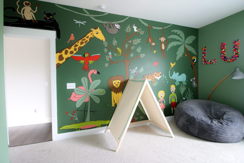 jungle themed mural