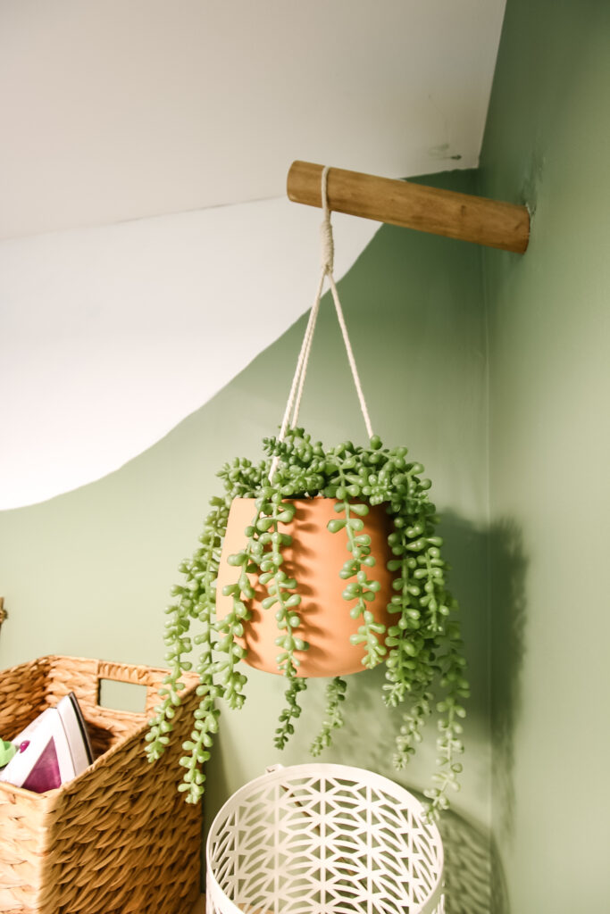 Dowel hook in wall with hanging plant