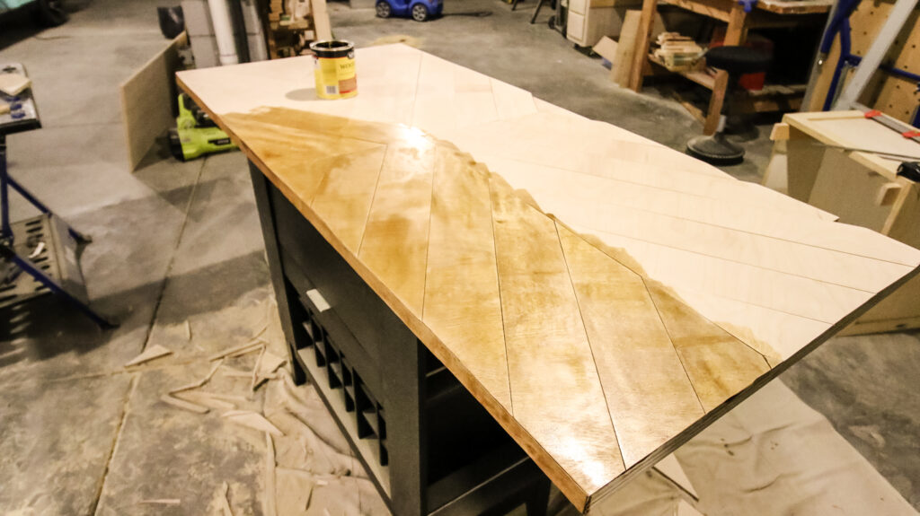 Staining with Golden Oak stain