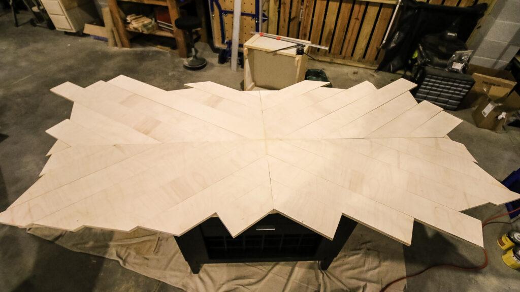 Angled strips glued down
