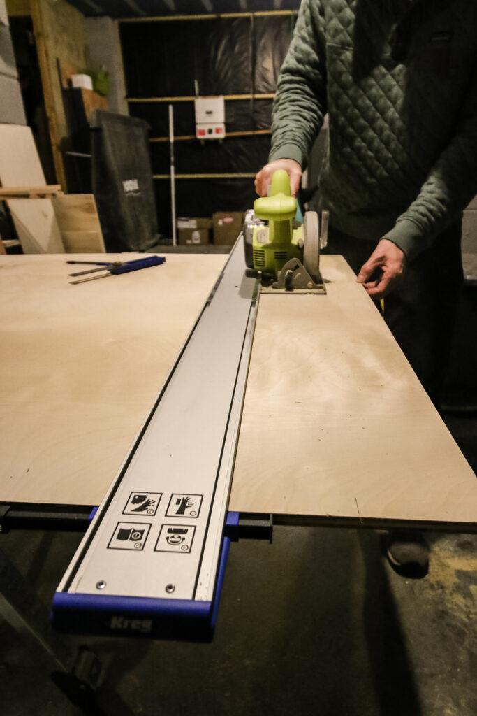Kreg Straight Edge Guide cutting full length plywood