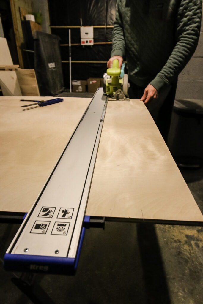 Kreg Straight Edge Guide cutting long plywood