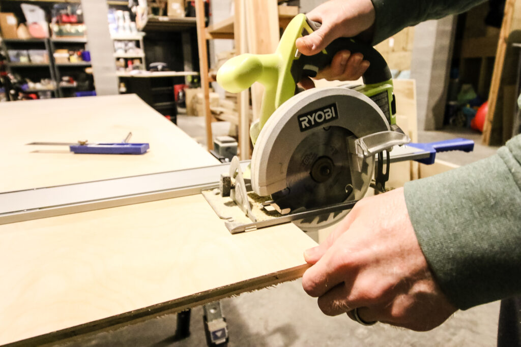 Close up of circular saw with Kreg Straight Edge Guide