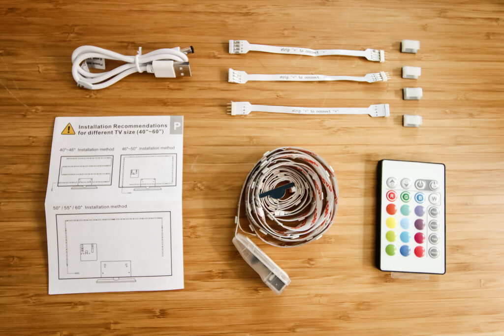 contents of an LED strip light TV kit