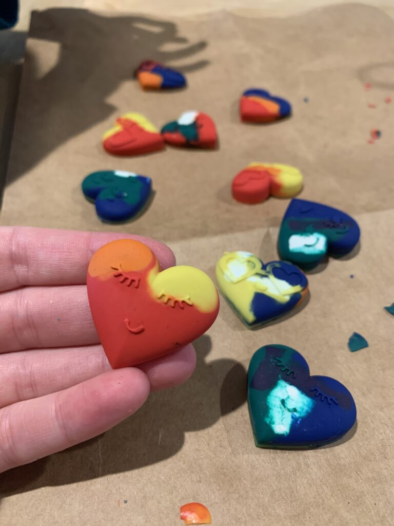 heart shaped recycled crayons