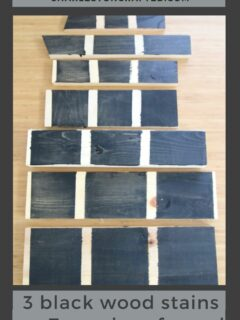 3 black wood stains on 7 types of wood