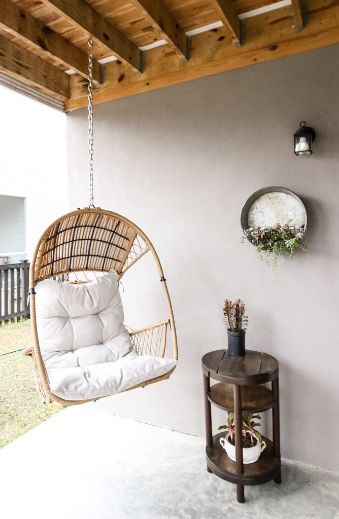 covered patio with swing