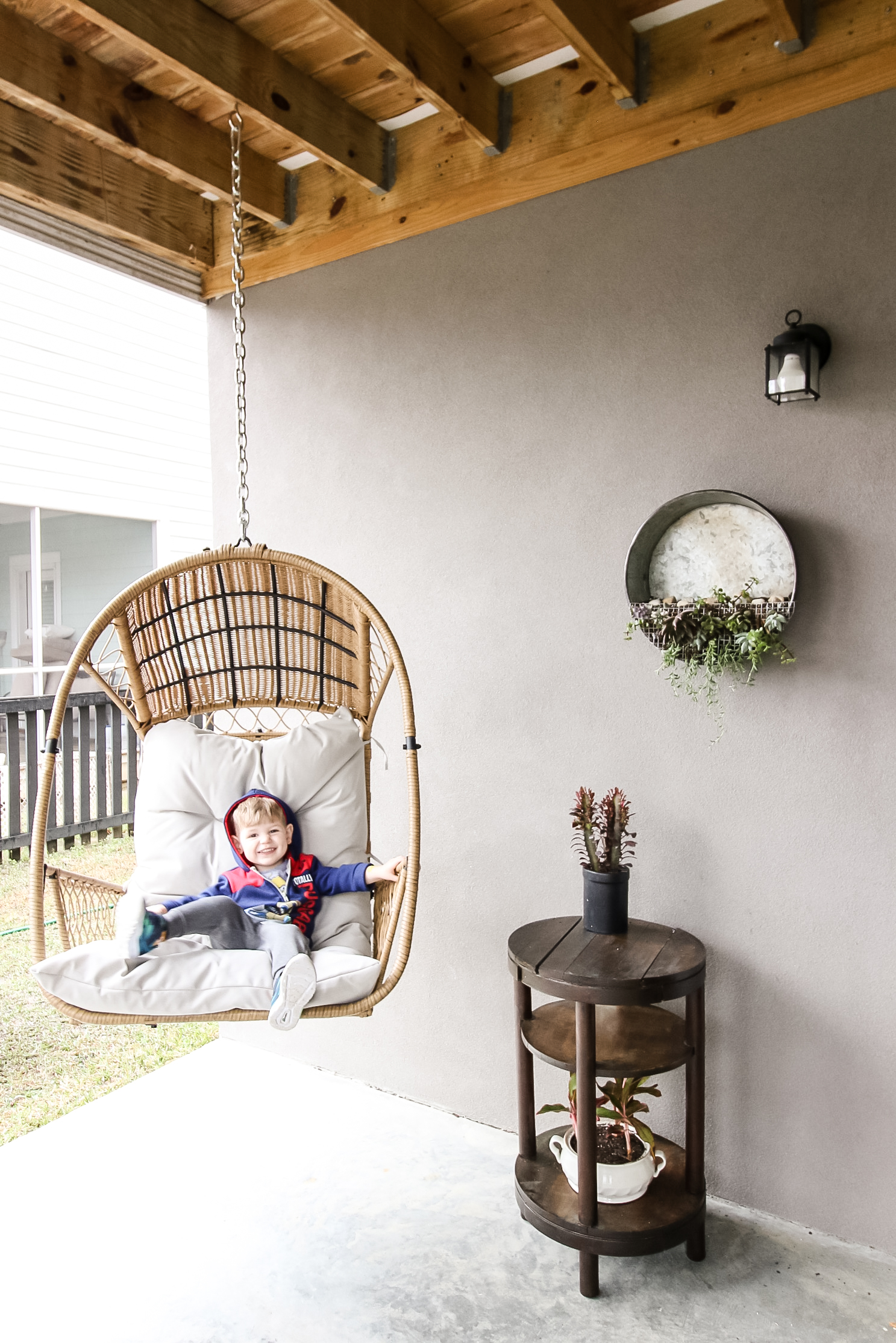 hanging swing on a covered patio