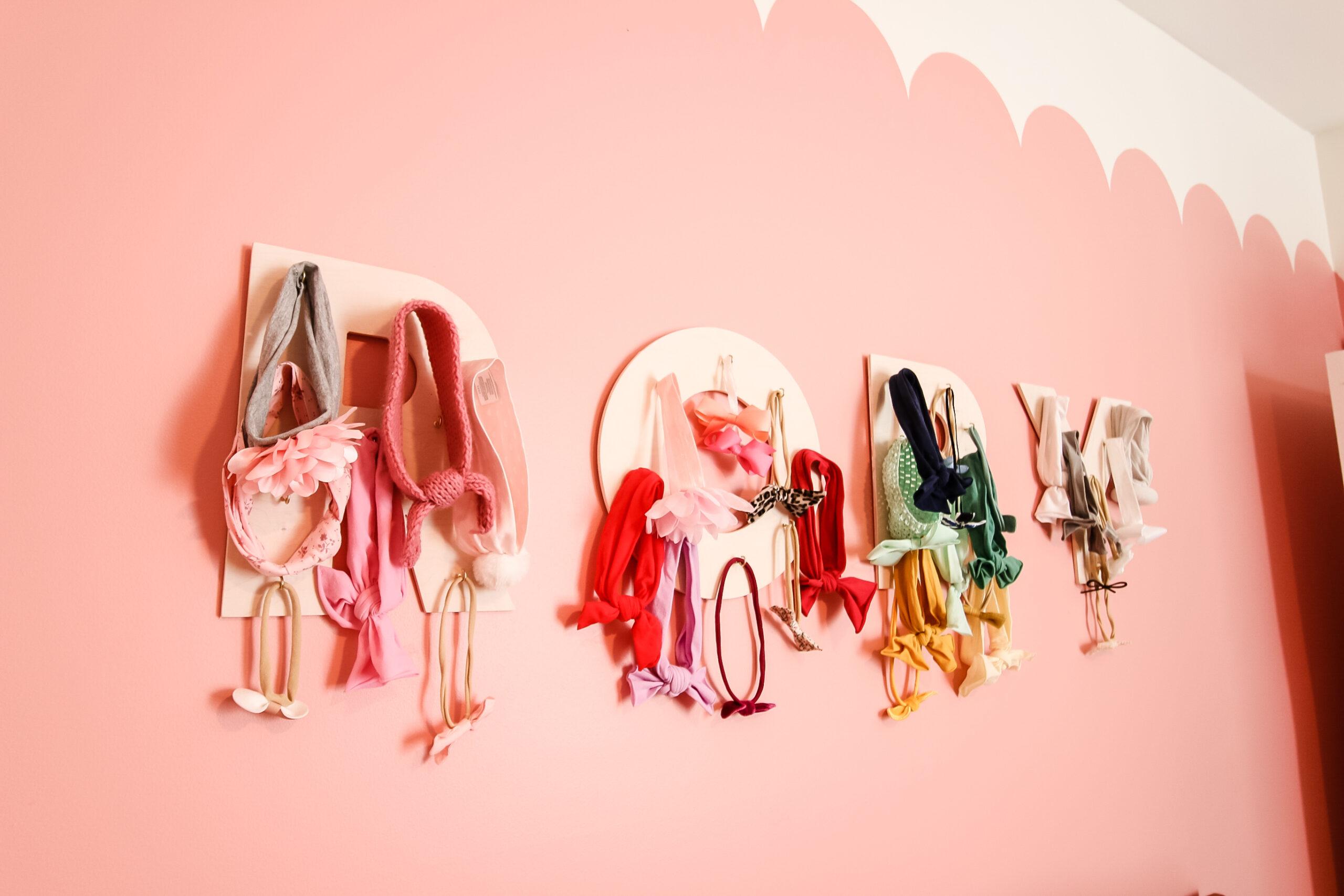 monogrammed baby headband hairbow display DIY