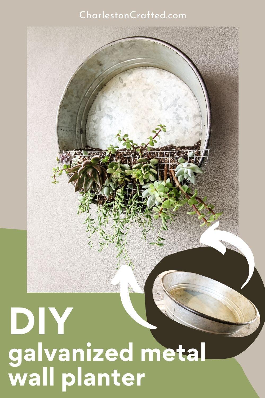 DIY galvanized metal wall planter