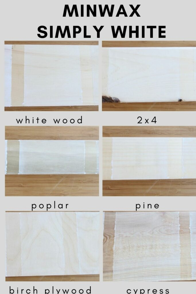 Minwax simply white on different types of wood