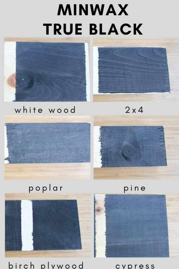 Varathane classic black on different types of wood (1)