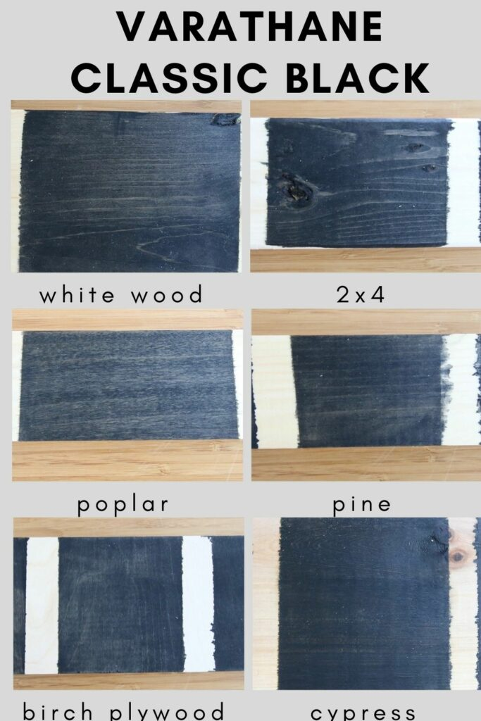 Varathane classic black on different types of wood