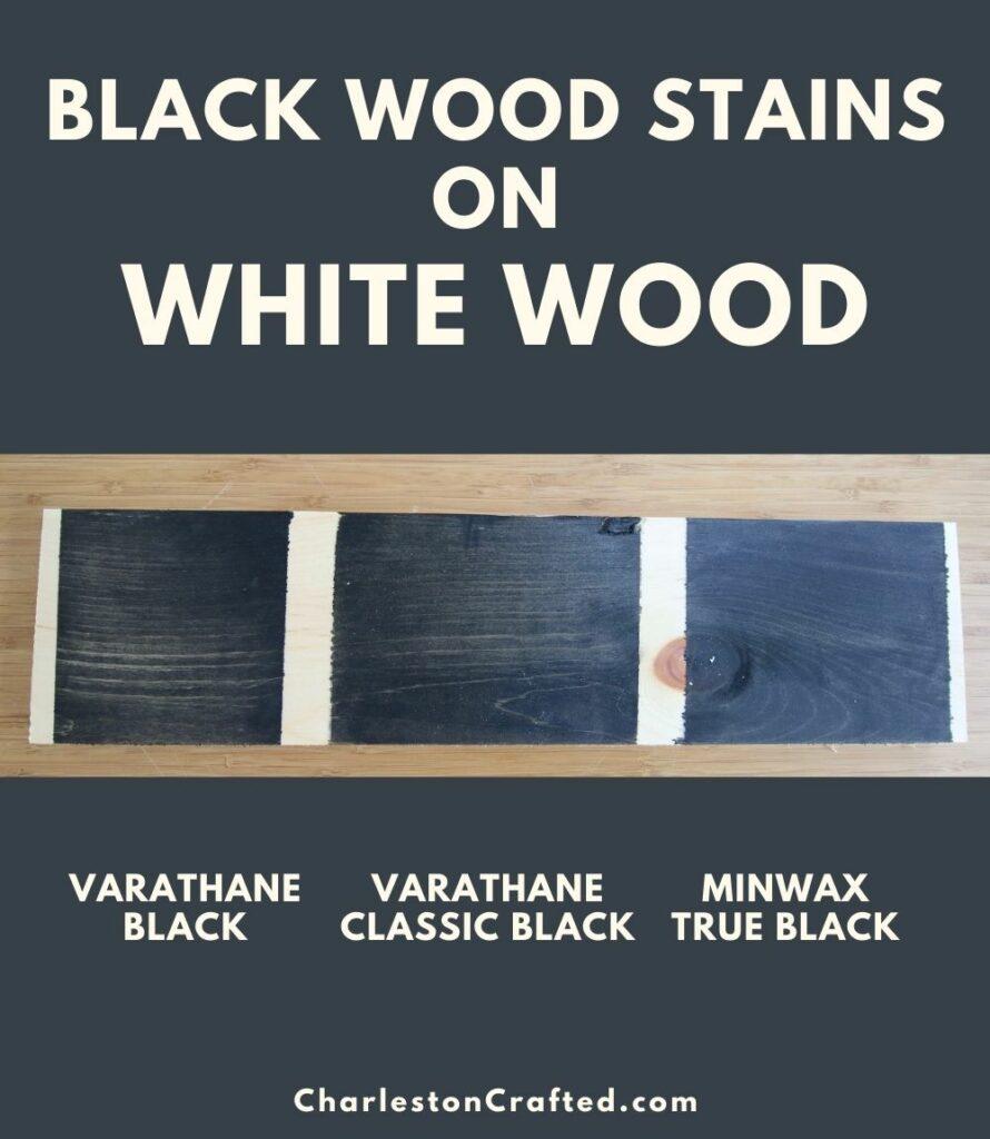 black wood stain white wood pin