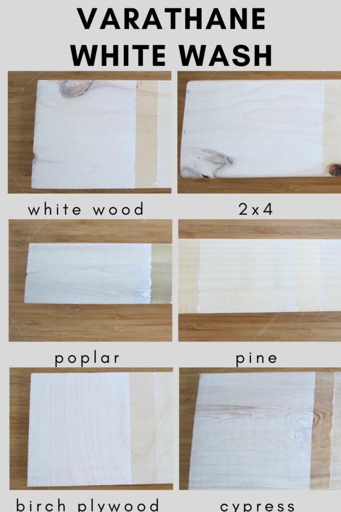 varathane white wash of different types of wood