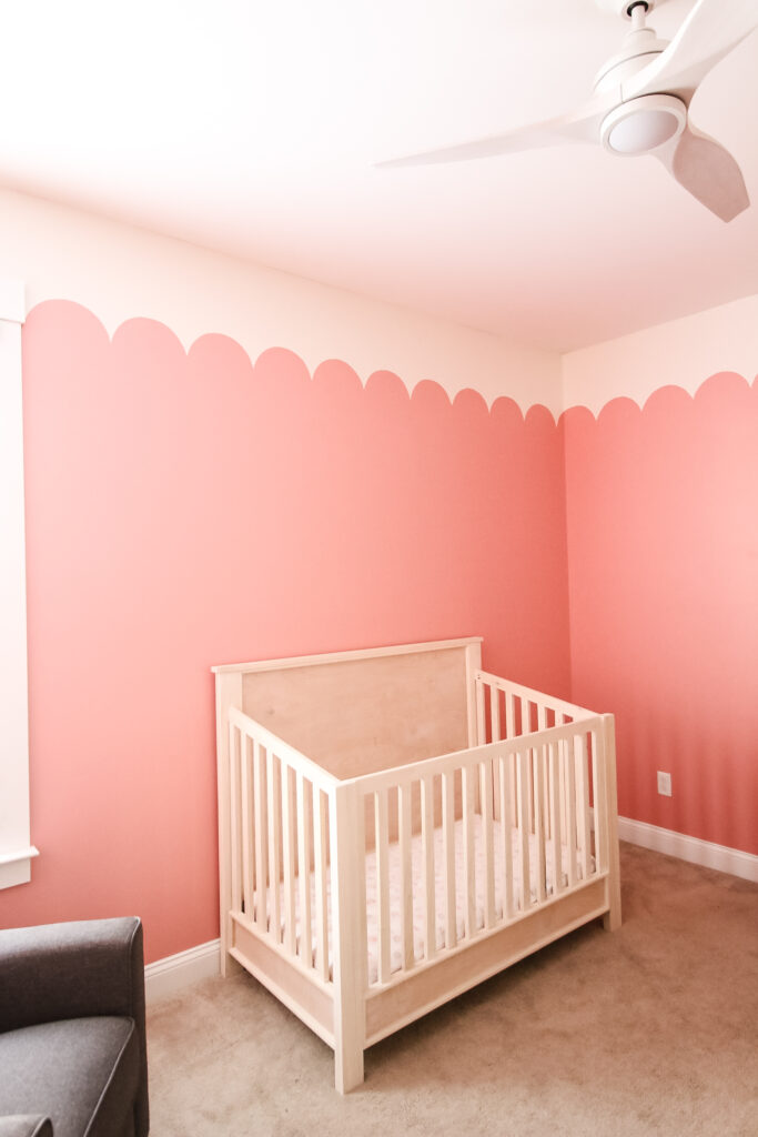 coral pink scallop painted wall