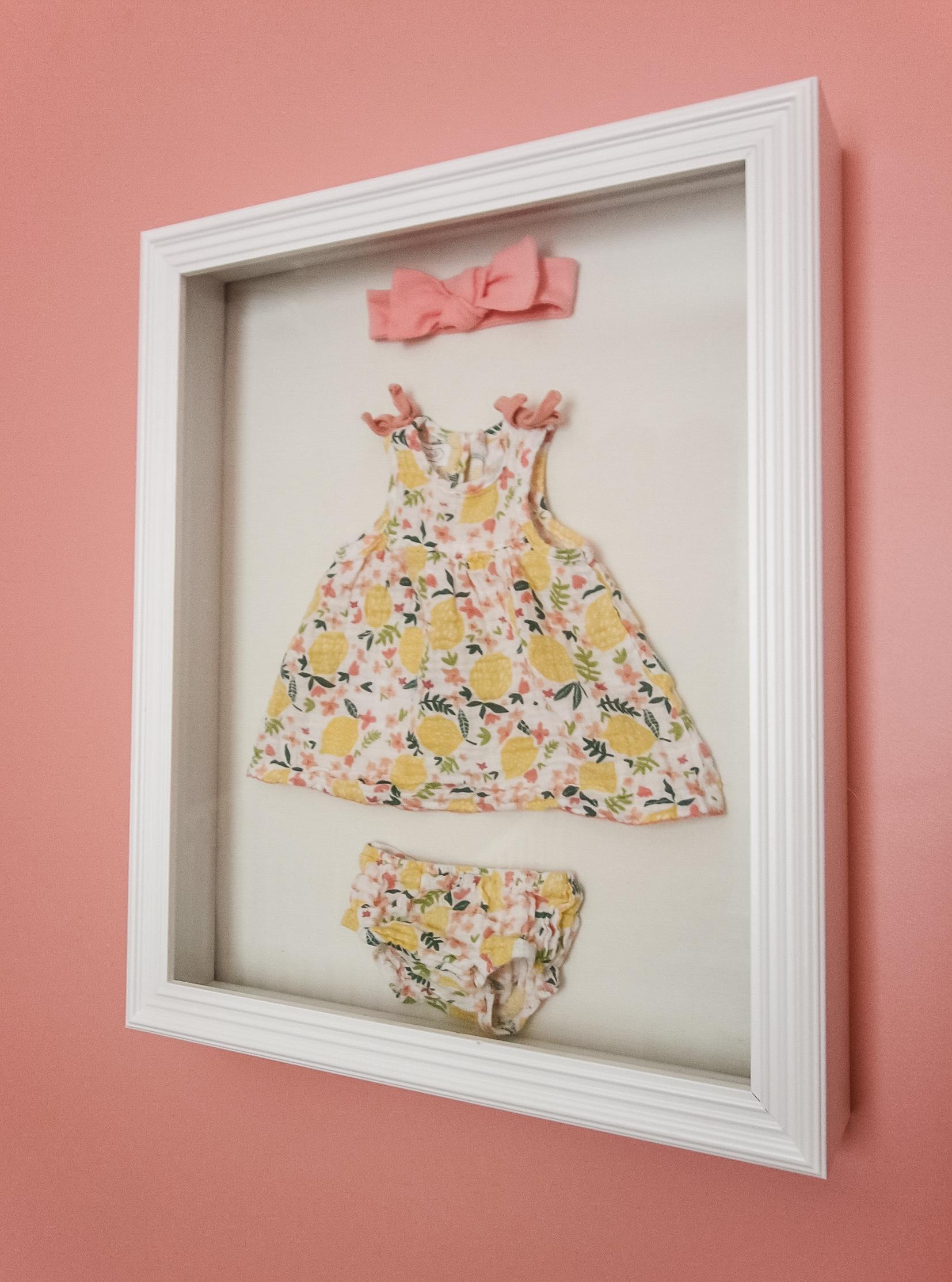 DIY newborn hospital outfit shadow box