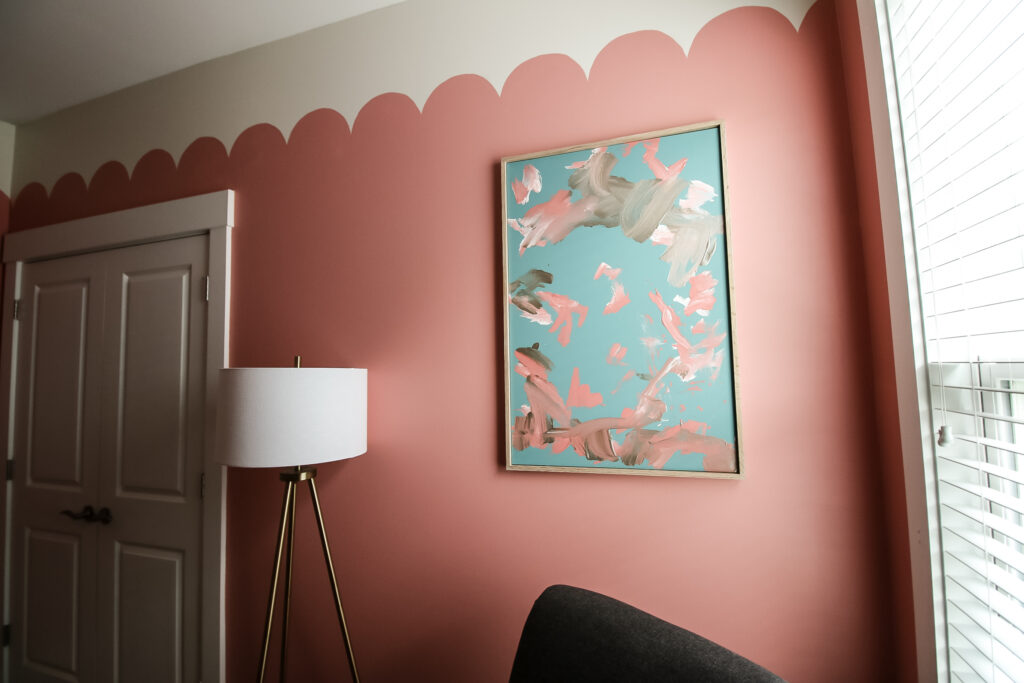 Canvas above chair with scallop wall