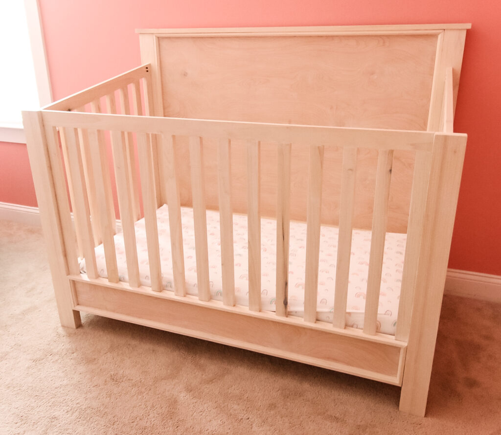 Front view of DIY traditional crib