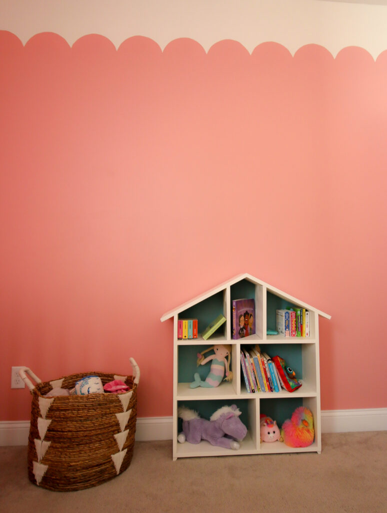 Picture of dollhouse bookshelf with scalloped wall