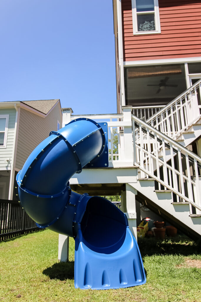 Turbo Tube Slide attached to stair deck