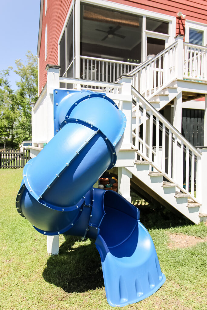 Turbo Tube Slide attached to backyard deck