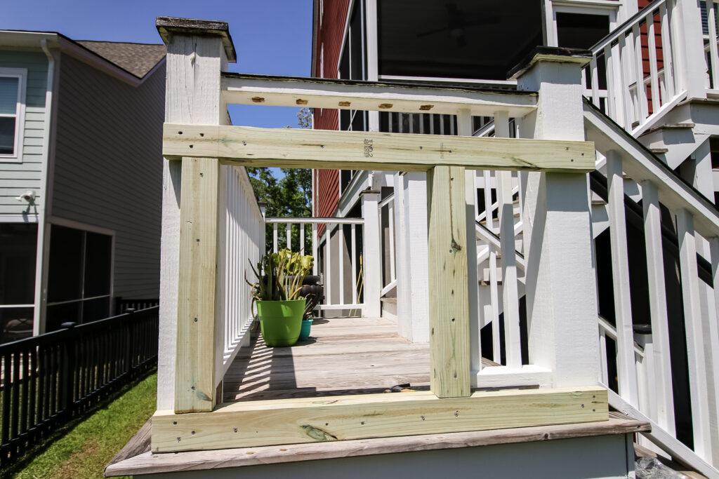 Wooden entrance assembly for slide