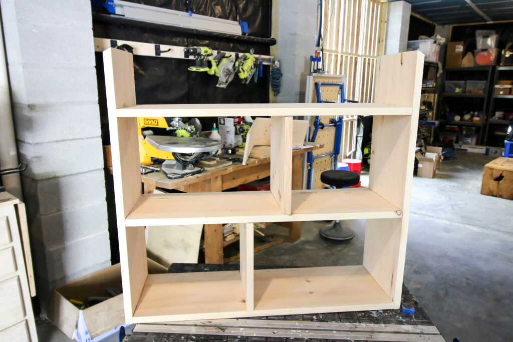 Building frame of DIY dollhouse bookshelf